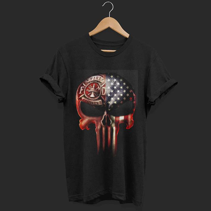Firefighter skull America flag shirt