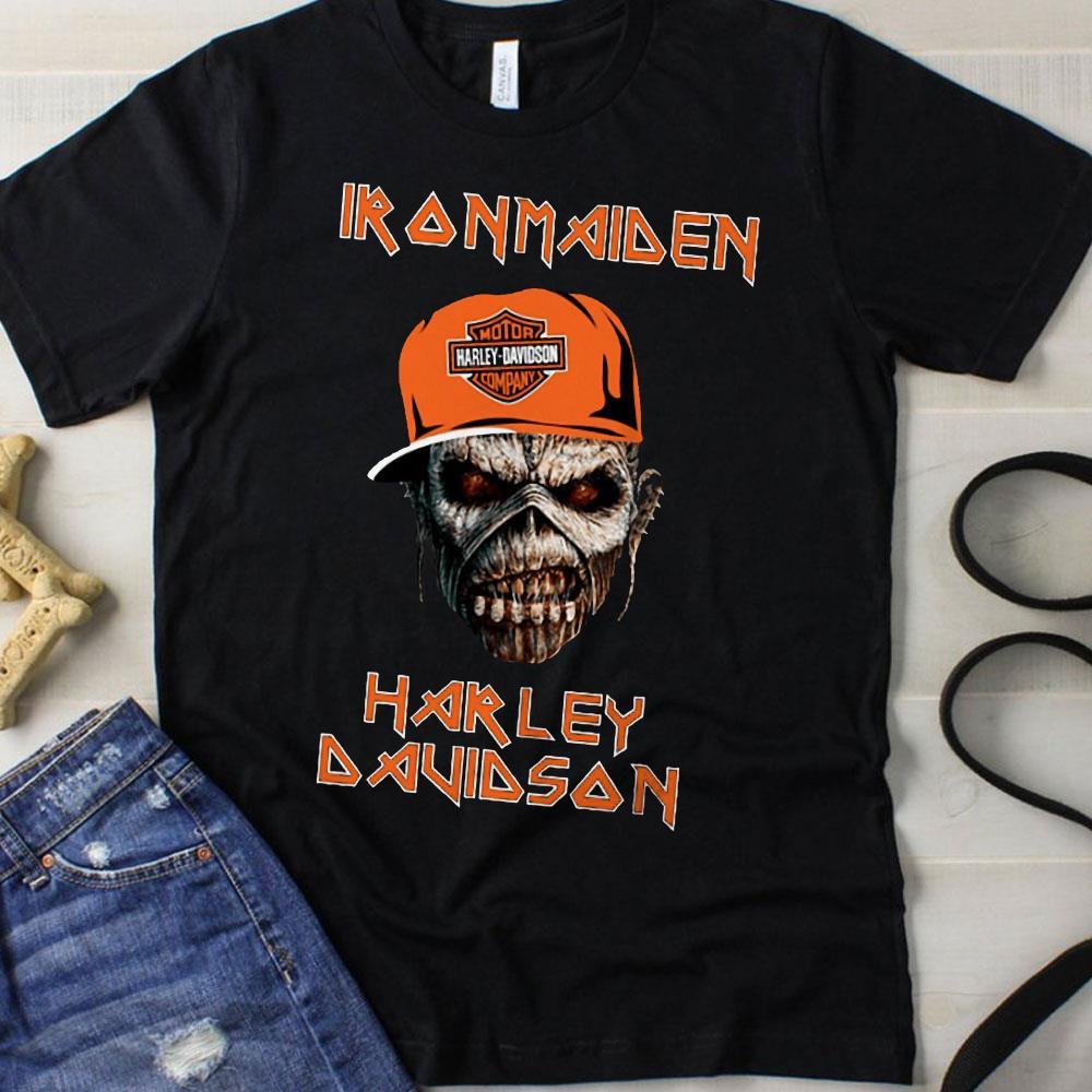 Harley Davidson skull Iron maiden shirt