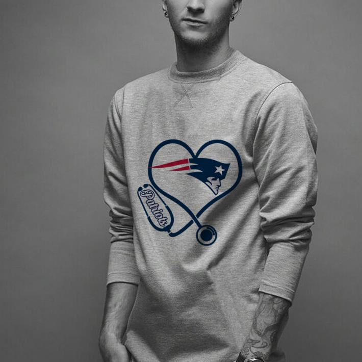 Nurse New England Patriots heart stethoscope shirt