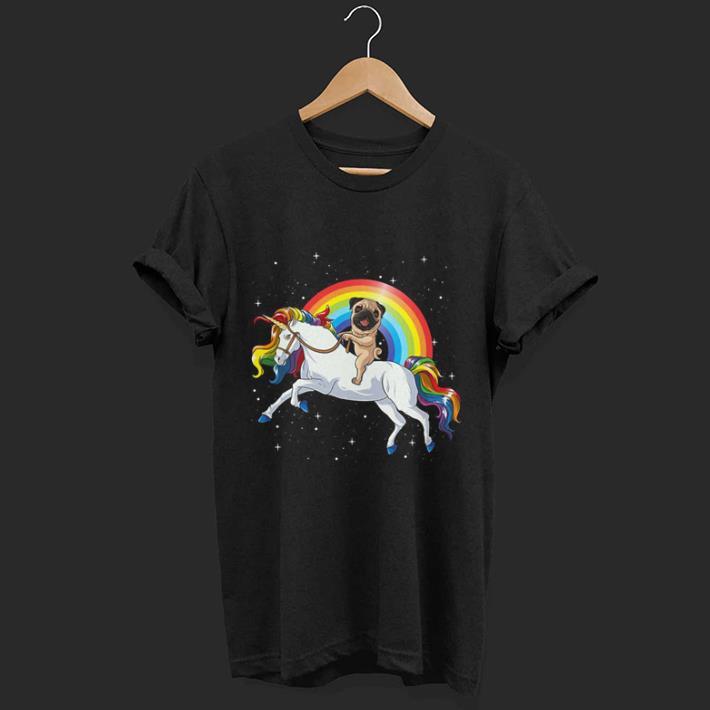Pug dog ride Unicorn shirt