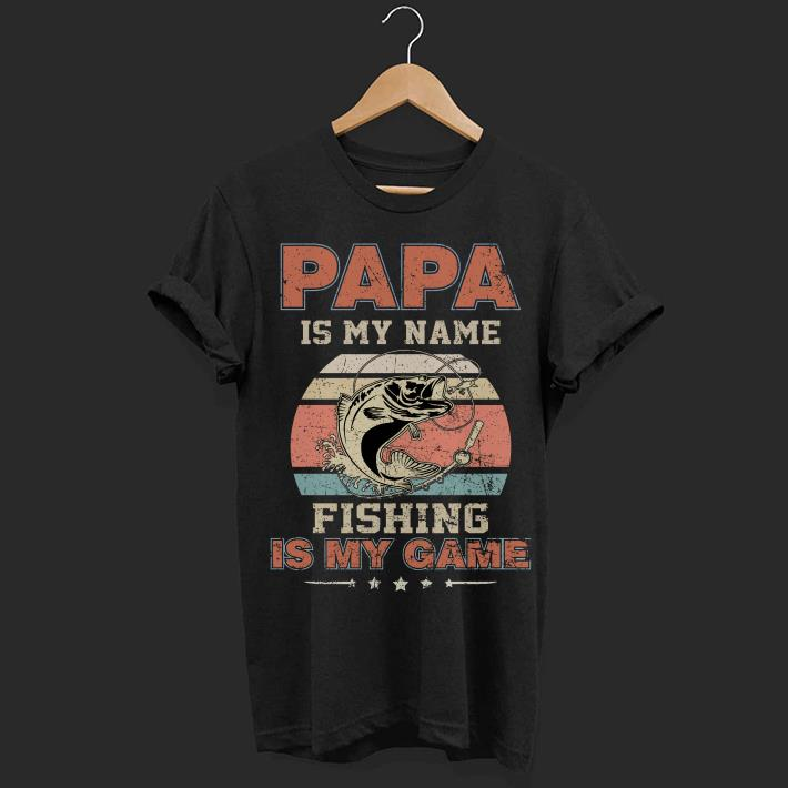 Sunset retro Papa is my name fishing is my game shirt 1