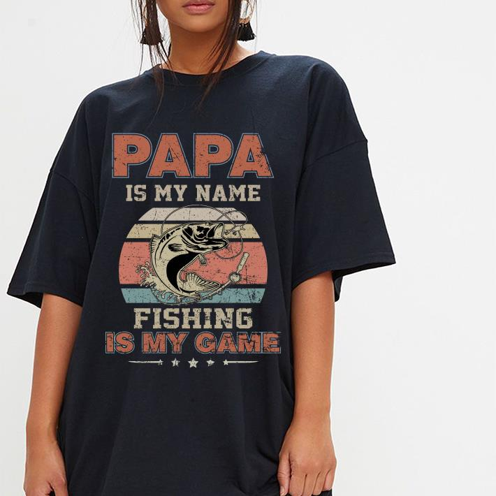 Sunset retro Papa is my name fishing is my game shirt