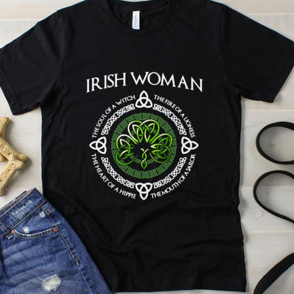 Funny Irish woman The soul of a witch the fire of a lioness the heart of a hippie shirt