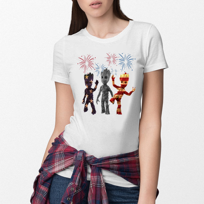3 Baby Groot American Flag shirt