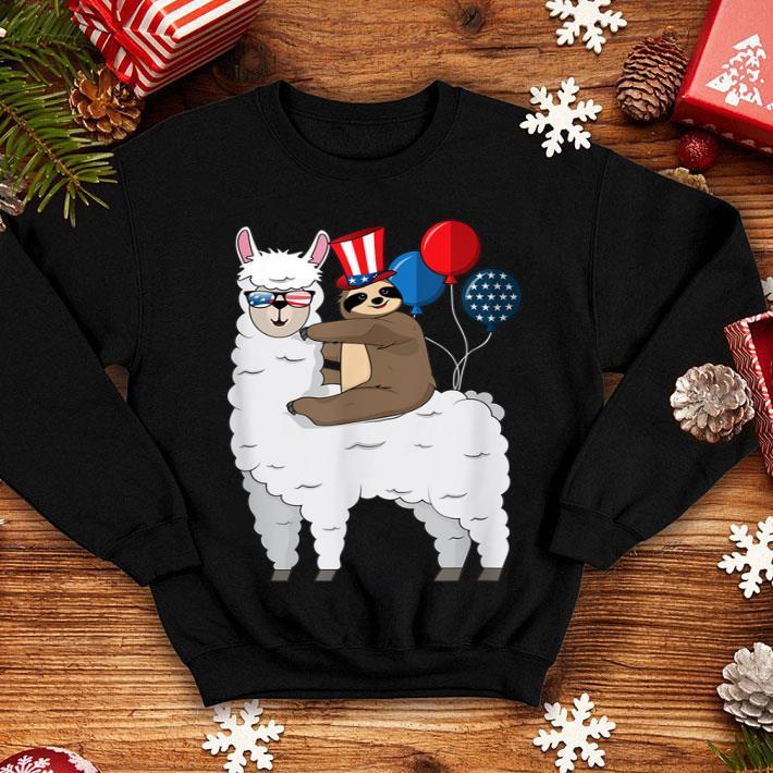 4th Of July Llama and Sloth USA Patriotic American Flag shirt