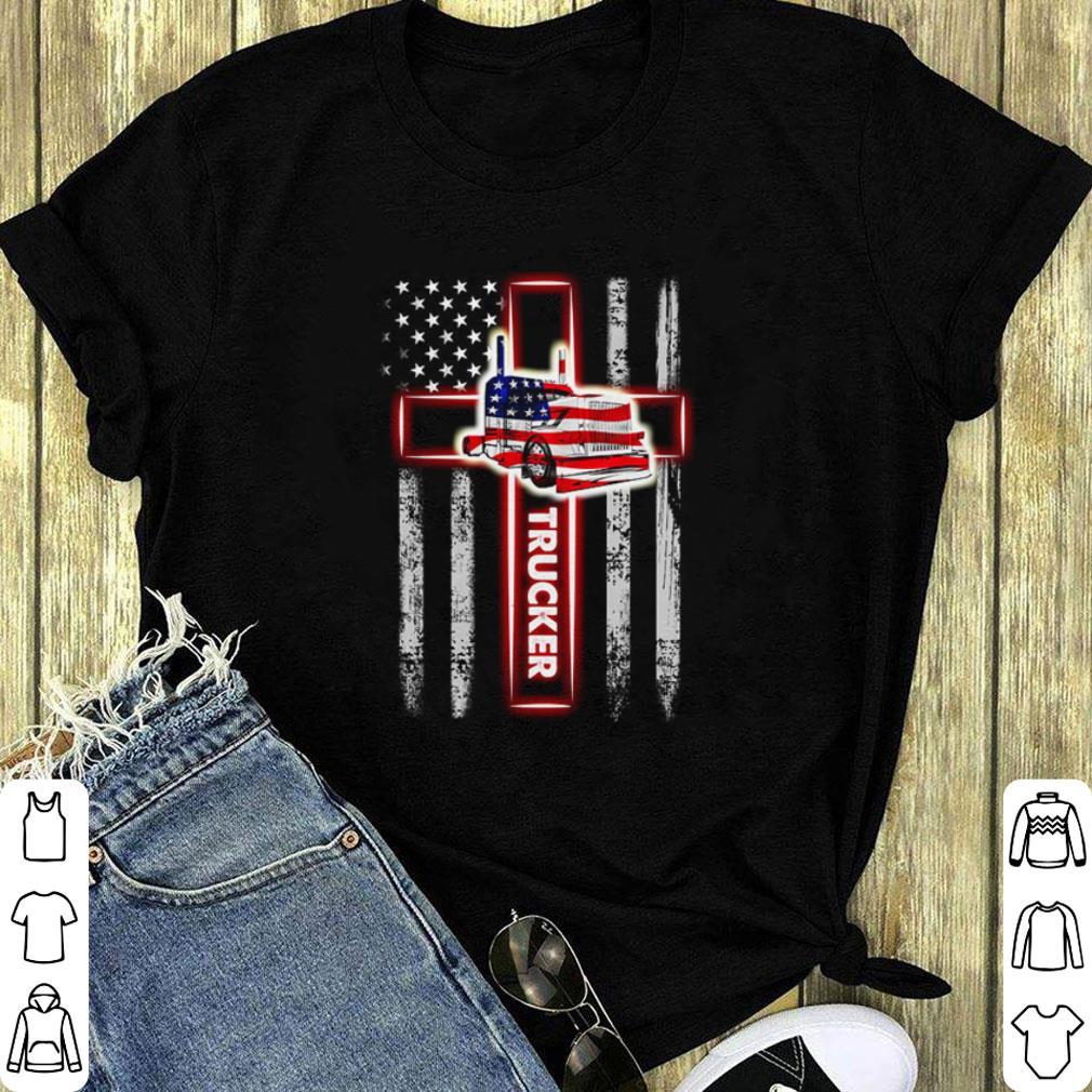 American Flag Trucker The Cross shirt 1