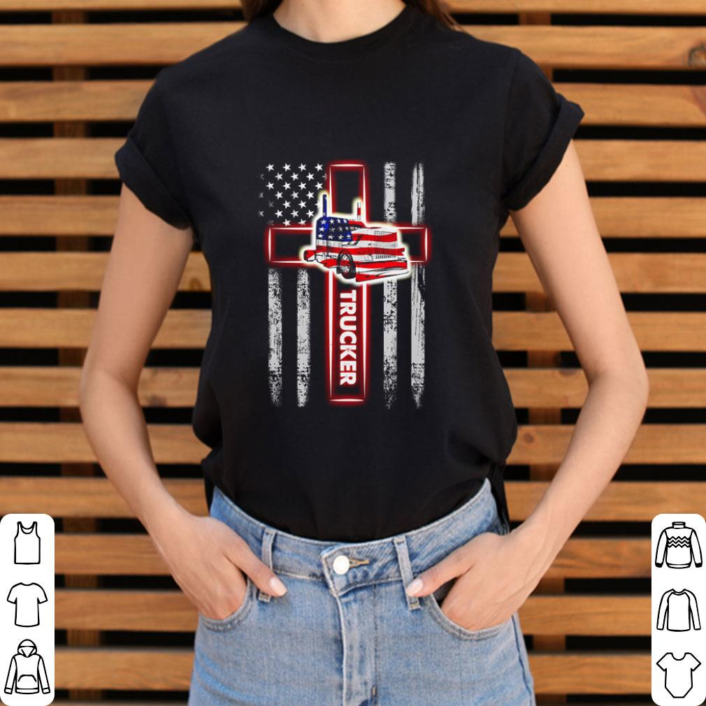 American Flag Trucker The Cross shirt