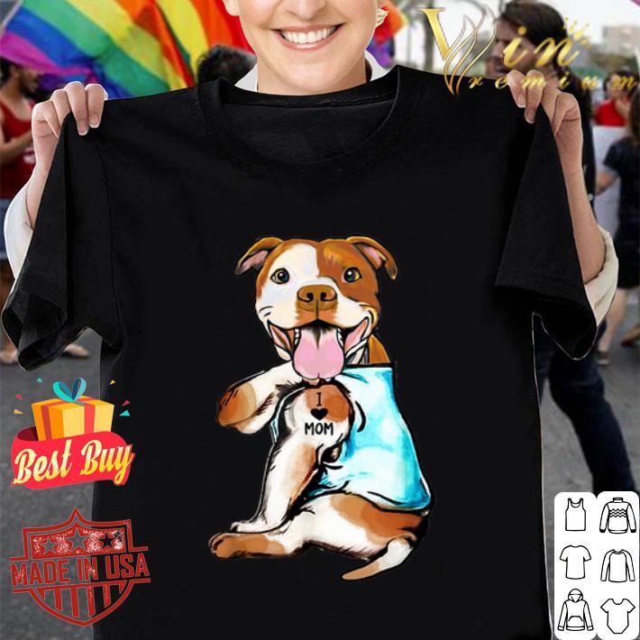 American Staffordshire Terrier i love mom tattoos shirt