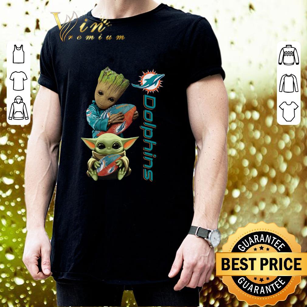 Baby Groot And Baby Yoda Hug Miami Dolphins shirt 3