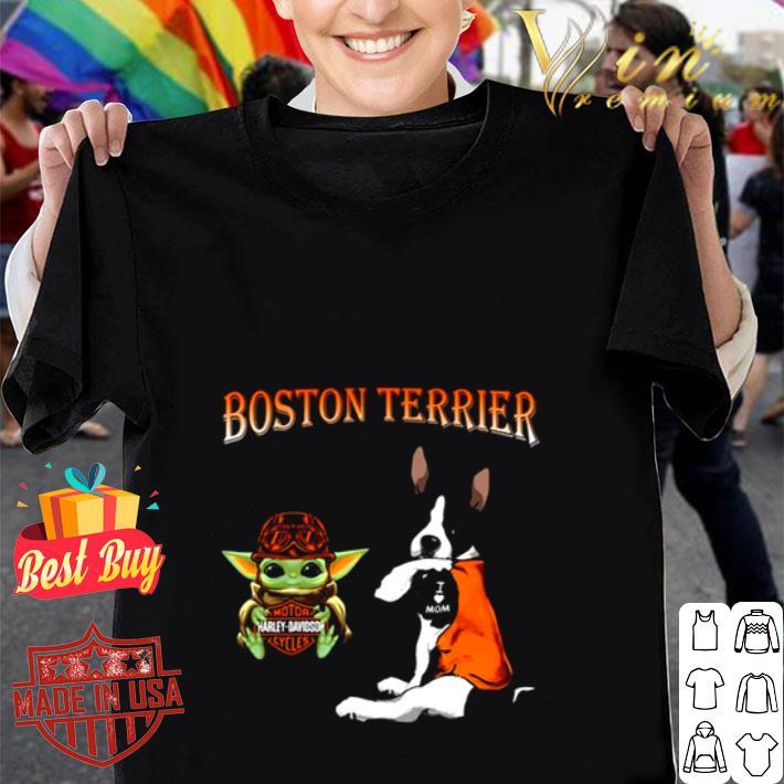 Baby Yoda Motor Harley Davidson Cycles Boston Terrier shirt