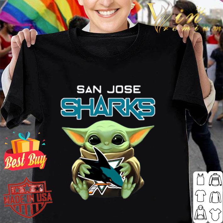 Baby Yoda hug San Jose Sharks Star Wars Mandalorian shirt