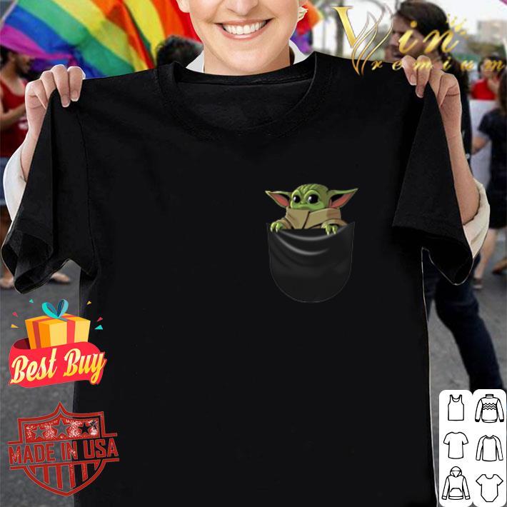 Baby Yoda in pocket The Mandalorian shirt