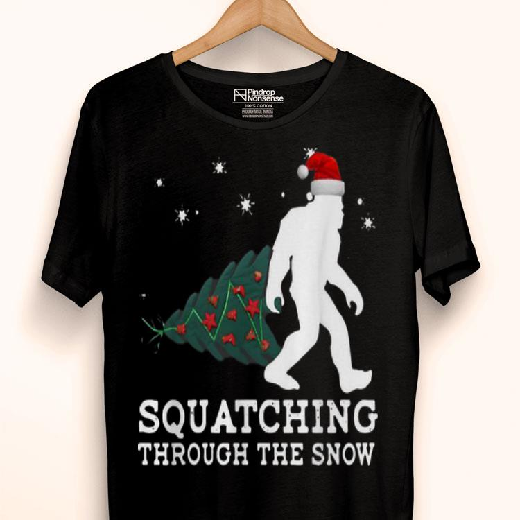 Bigfoot Santa Squatching through the snow Christmas shirt
