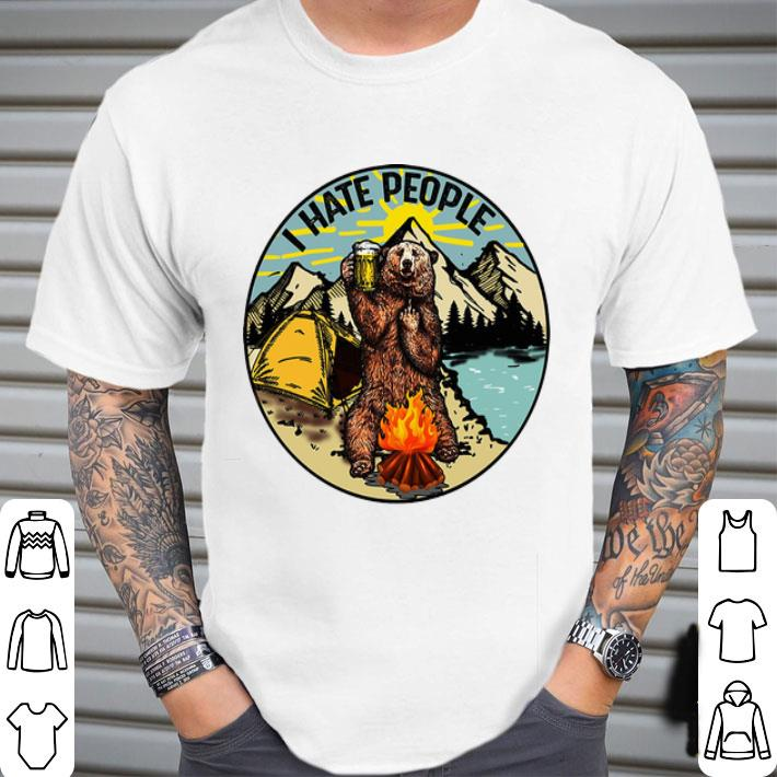 Camping bear i hate people shirt
