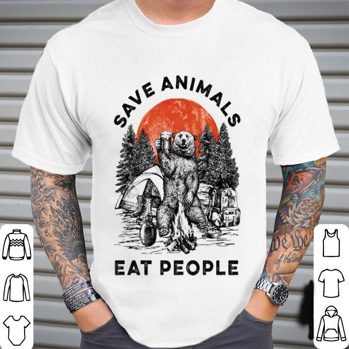 Camping bear save animals eat people sunset shirt
