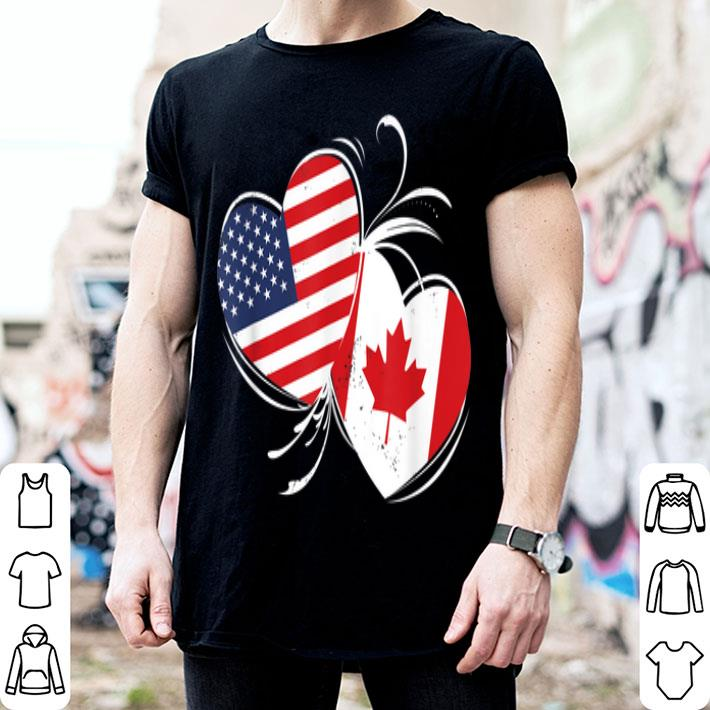 Canada USA Flag Double Heart T shirt For Canadian American shirt