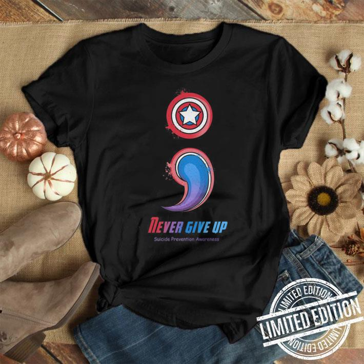 Captain America Never give up Suicide Prevention Awareness shirt