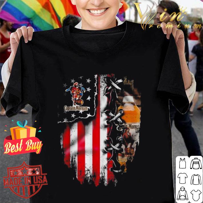 Captain Morgan inside American flag shirt