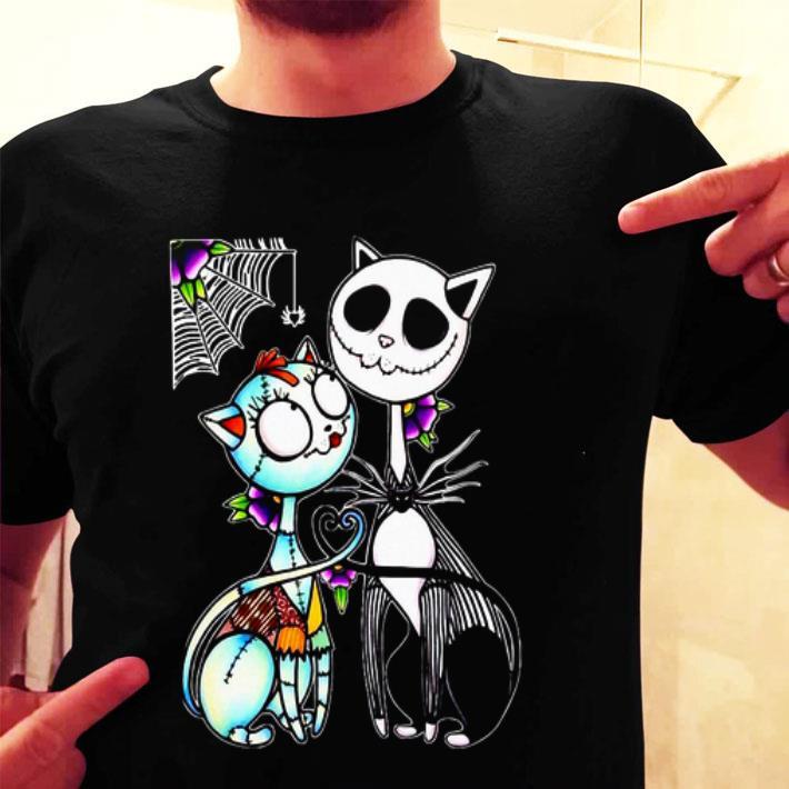 Cat Jack Skellington and Sally shirt