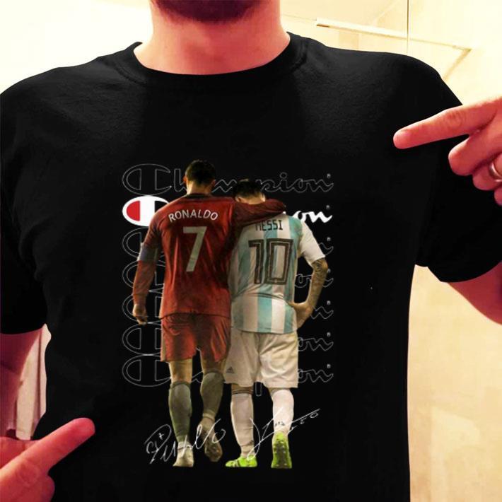 Champion Cristiano Ronaldo Lionel Messi Signatures shirt
