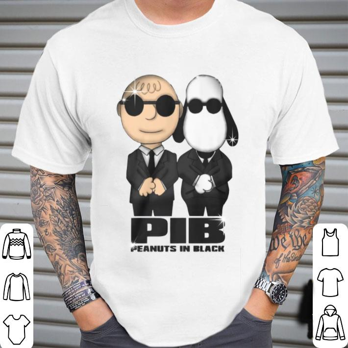 Charlie Brown and Snoopy PIB Peanuts In Black Men In Black shirt