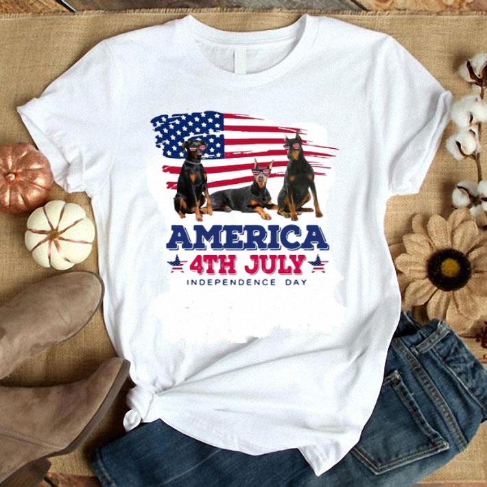 Doberman Pinscher American flag 4th July independence day shirt