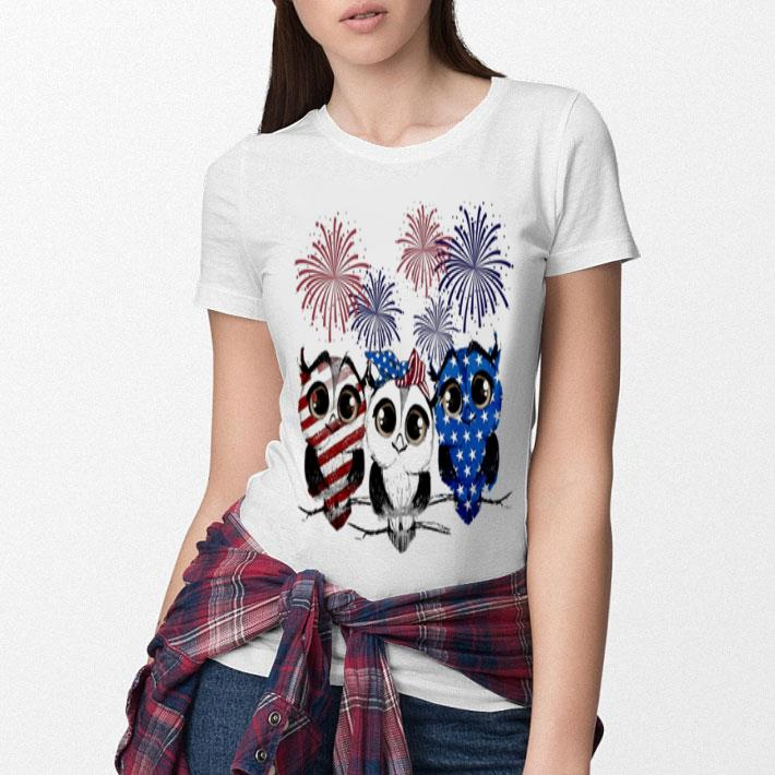 Fireworks Owl red white and blue American flag shirt