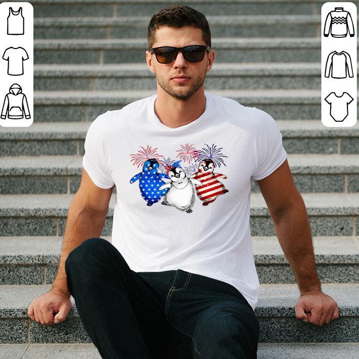 Fireworks Penguins Red white and blue America flag shirt