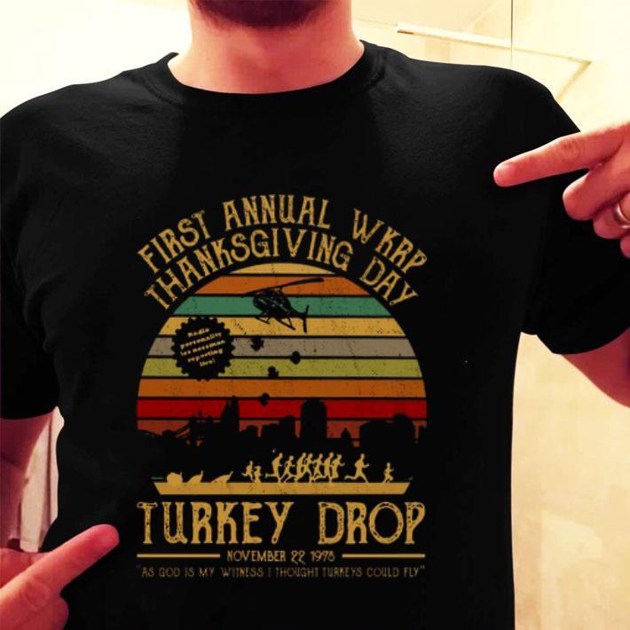 First annual wkrp thanksgiving day Turkey drop vintage shirt