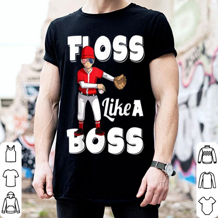 Floss Like a Boss Baseball Pitcher 4th of July shirt