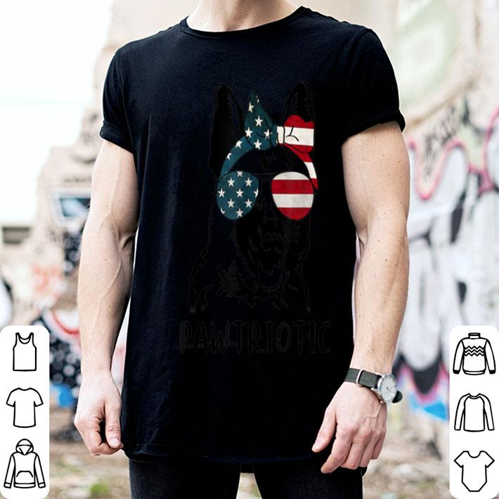 German Shepherd Pawtriotic With American Flag 4th Of July shirt