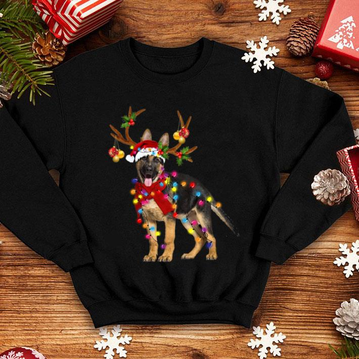 German Shepherd santa reindeer Christmas shirt