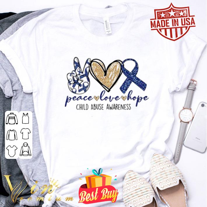 Glitter Peace love hope Child Abuse awareness shirt