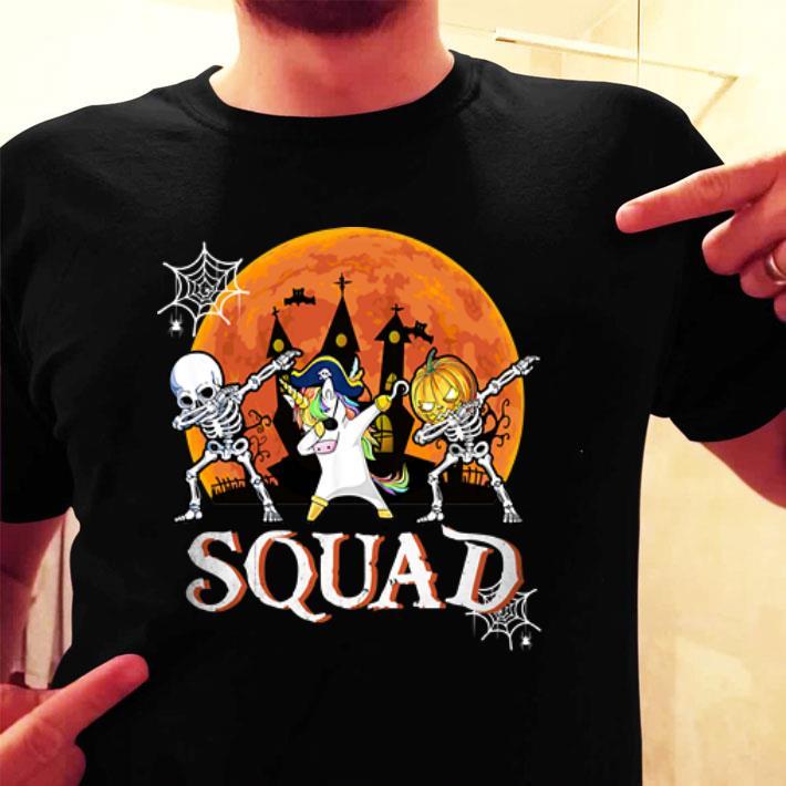 Halloween Squad Skeleton Unicorn Dabbing shirt