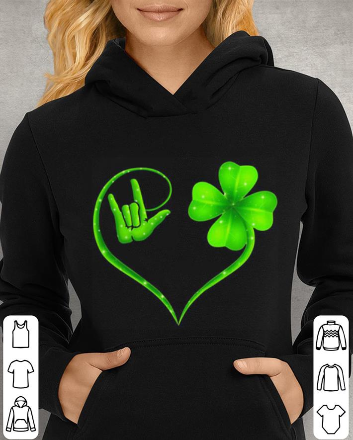 Hand making i love you sign heart clover St. Patrick's day shirt