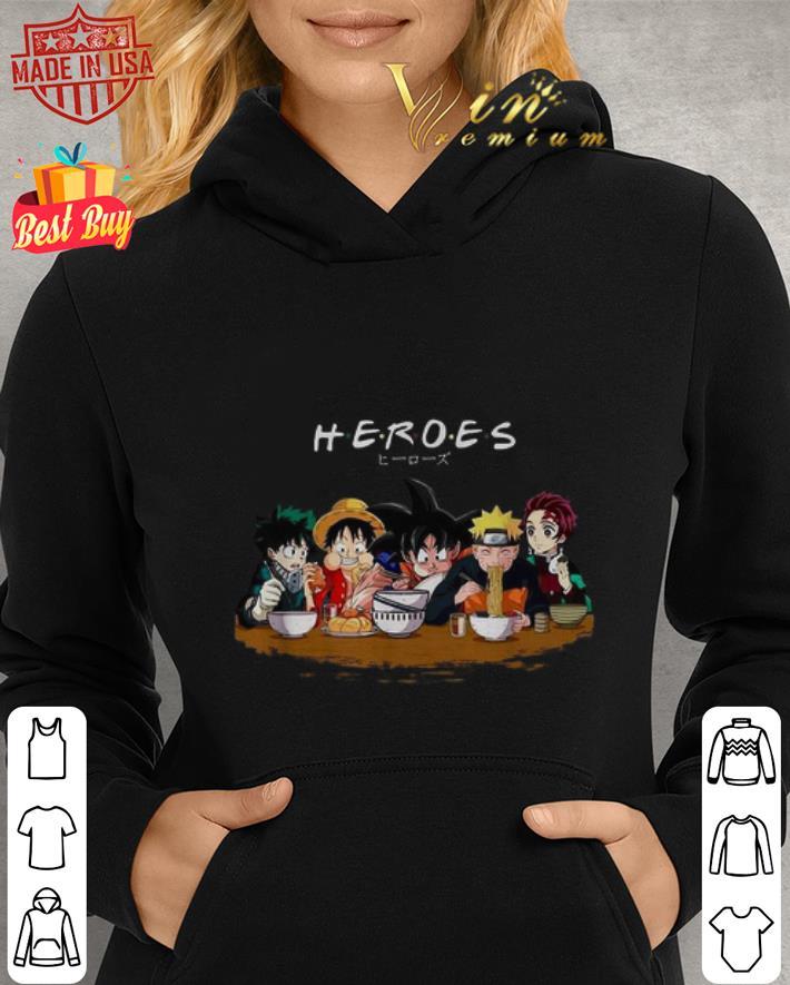 Heroes Izuku Midoriya Luffy Songoku Naruto Tanjiro Friends shirt