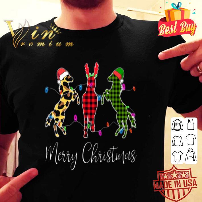 Horse Merry Christmas leopard plaid shirt