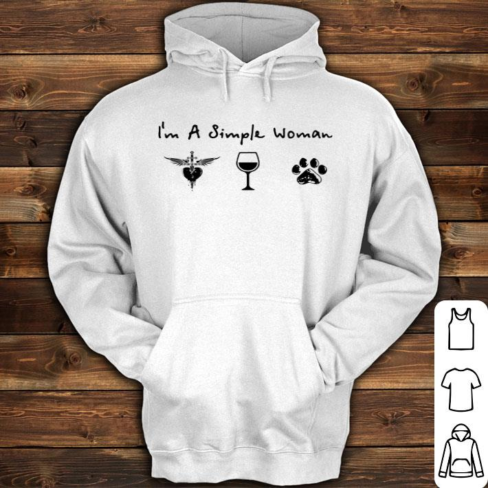 I'm a simple woman Bon Jovi Wine glass dog paw shirt