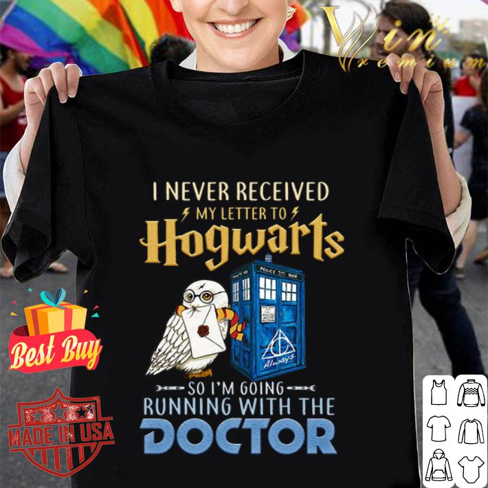 I never received my letter to Hogwarts running with Doctor Who shirt
