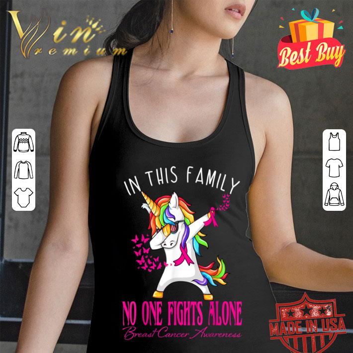 In This Family No One Fights Alone Breast Cancer Awareness shirt