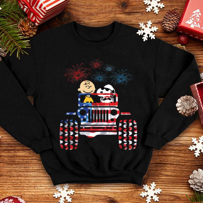Jeep American flag Snoopy and Charlie Brown fireworks shirt