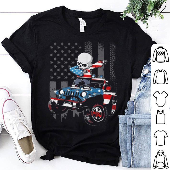 Jeep car Dabbing Skeleton American Flag shirt