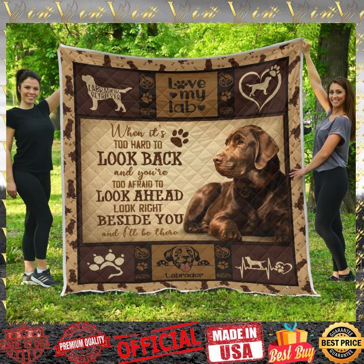 Labrador Retriever look back look ahead beside you quilt blanket