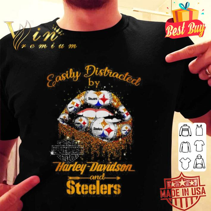 Lip easily distracted by Harley-Davidson and Pittsburgh Steelers shirt