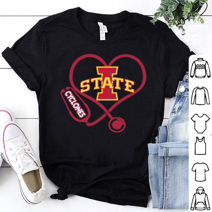 Love Iowa State Cyclones Stethoscope Heartbeat nurse shirt