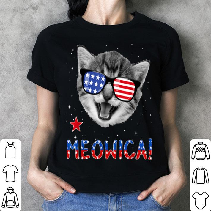 Meowica American Flag Patriotic Cat 4th of July shirt