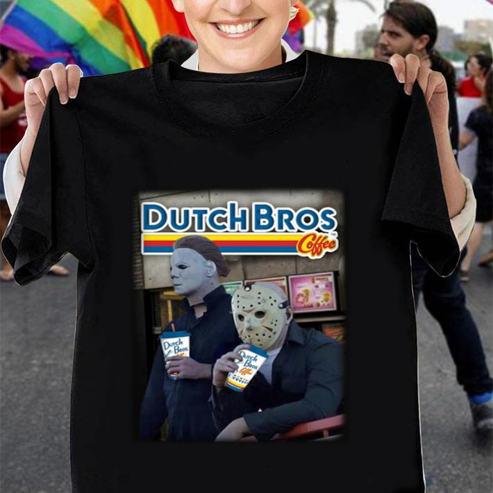 Michael Myers Jason Voorhees drinking Dutch Bros Coffee shirt