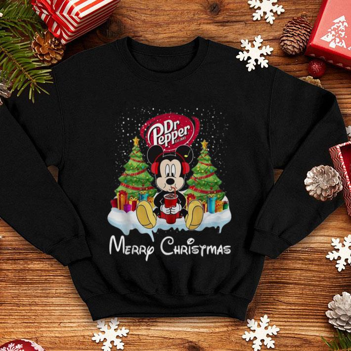Mickey Mouse drink Dr Pepper Merry Christmas shirt