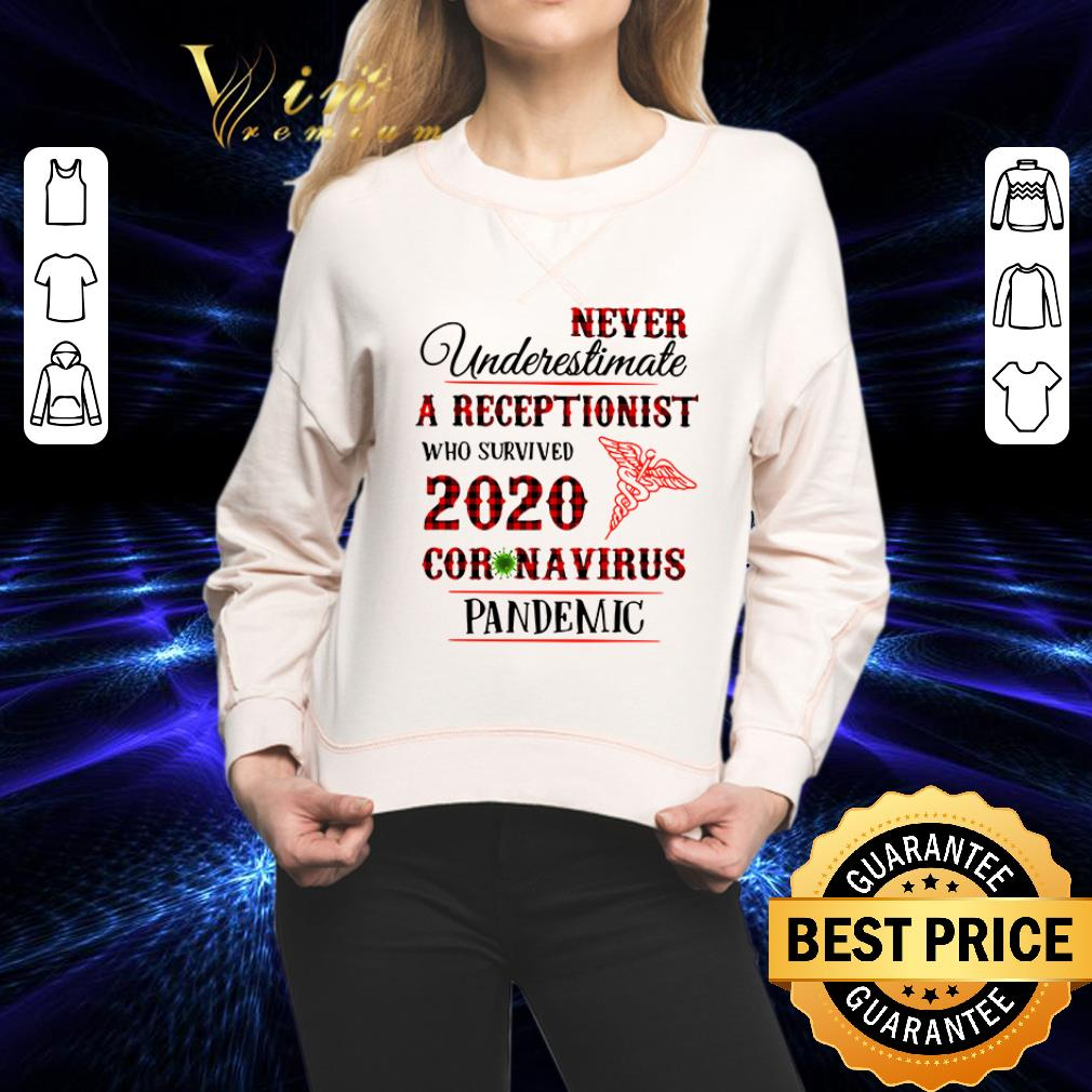 Never underestimate a receptionist 2020 Coronavirus pandemic medical shirt 1