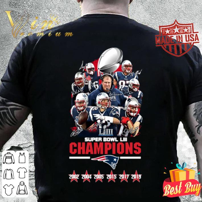 New England Patriots Super Bowl LIII Champions Signatures shirt